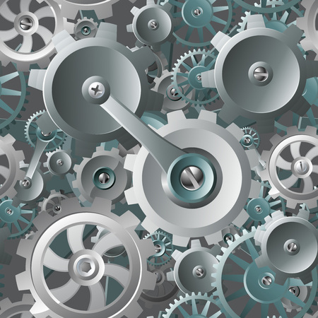 Gears and Cogs Seamless Machine Background Ilustração