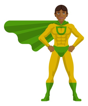 Super Hero Asian Man Cartoon