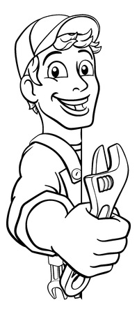 Mechanic Plumber Wrench Spanner Cartoon Handyman