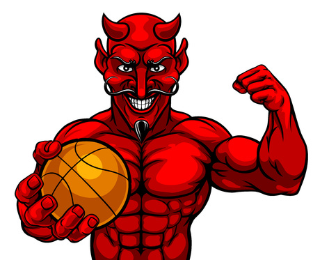 Devil Basketball Sports Mascot Holding Ball Vettoriali