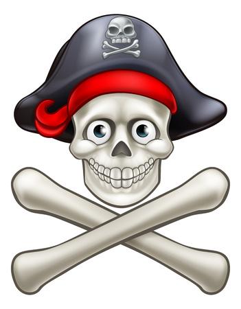 Pirate Skull and Crossbones Cartoon Ilustracja