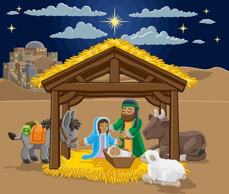 Christmas Nativity Scene Cartoon 일러스트