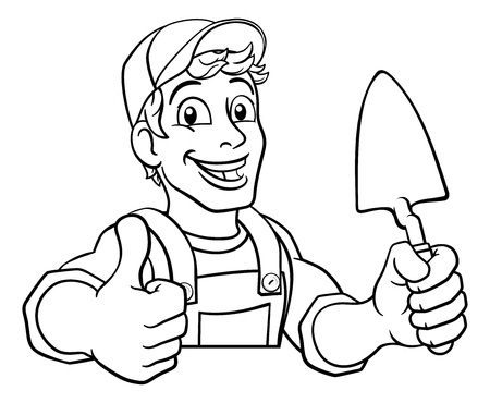 Trowel Construction Site Cartoon Builder Handyman