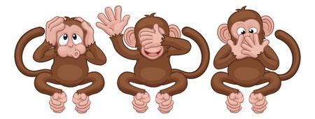 Affen sehen, hören, sprechen, keine bösen Zeichentrickfiguren