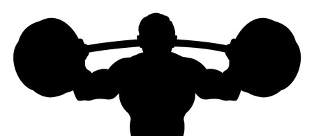 Silhouette Man Weight Lifter Body Builder Barbell Vector Illustration