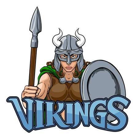 Viking Female Gladiator Warrior Woman Team Mascot Illustration
