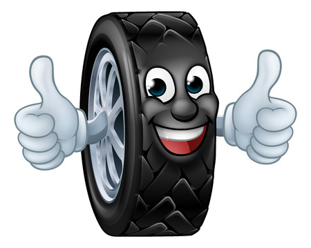 Tyre Cartoon Car Mechanic Service Mascot Illustration