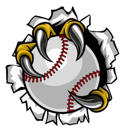 Bola de béisbol con garras de garra de águila rasgando fondo