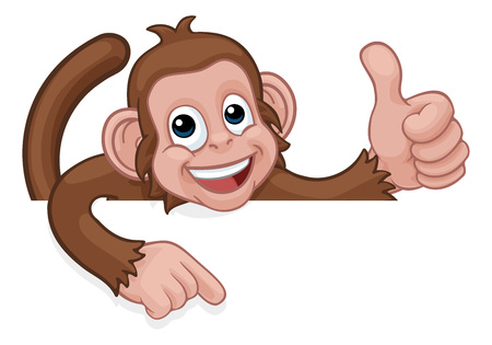 Monkey Cartoon Animal Pointing Thumbs Up Sign Illustration