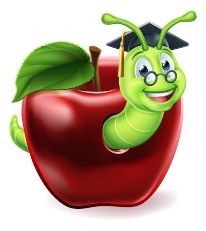 Bookworm Apple Cartoon