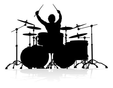 Musicista batterista Silhouette