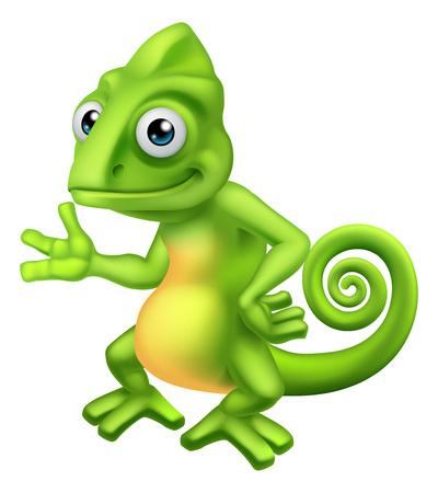 Chameleon Cartoon Lizard Character Standard-Bild - 123233197