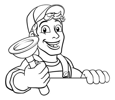 Plumber Cartoon Plumbing Drain Plunger Handyman Standard-Bild - 123233206