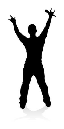 Singer Pop Country or Rock Star Silhouette