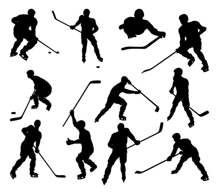 Hockey Sports Players Silhouettes
