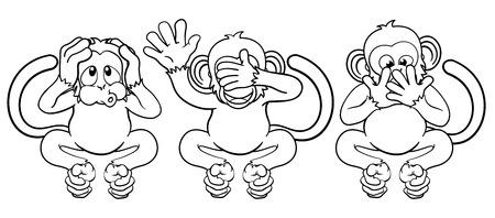Apen zien, horen spreken geen kwaad stripfiguren
