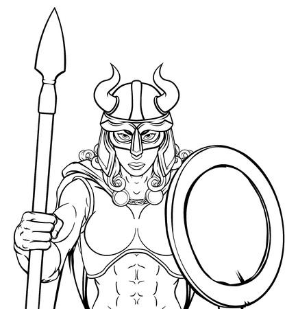 Viking Female Gladiator Warrior Woman Team Mascot Illustration