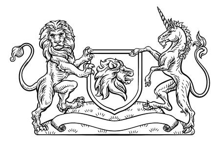 Armoiries Lion héraldique et bouclier de licorne