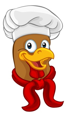 A chef chicken rooster cockerel cartoon character mascot wearing a white chefs hat