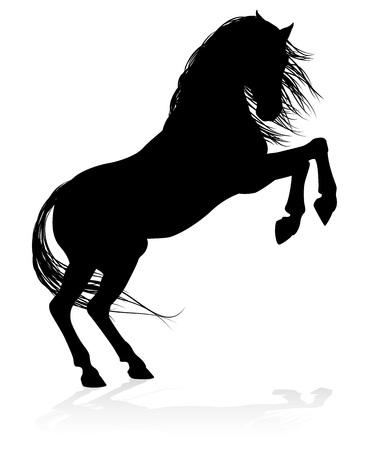 Een zeer gedetailleerd paard van hoge kwaliteit in silhouet