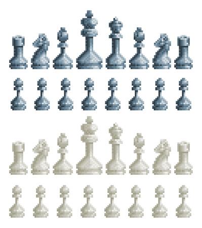 Set di pezzi degli scacchi Icone di arte del videogioco a 8 bit Pixel