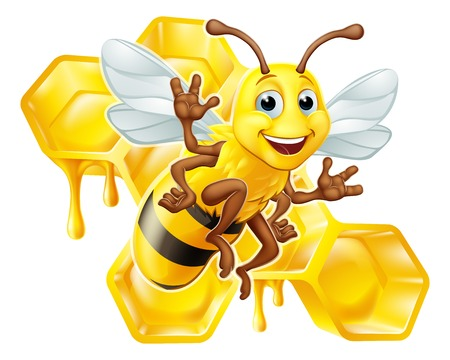Bumble Bee Honey Comb Bumblebee Hive Dibujos animados Ilustración de vector