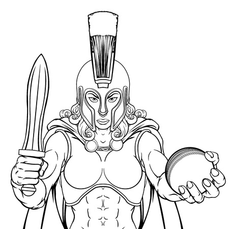 Spartan Trojan Gladiator Cricket Warrior Woman Illustration