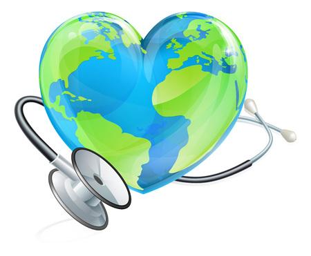 Concetto di salute Stetoscopio Cuore Terra Globo del mondo