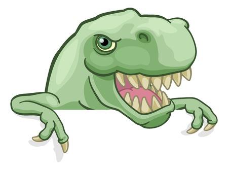 Dinosaur T Rex Peeking and Pointing Sign Cartoon Standard-Bild - 123898366