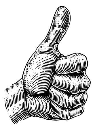 A hand giving a thumbs up sign in a vintage retro woodcut style