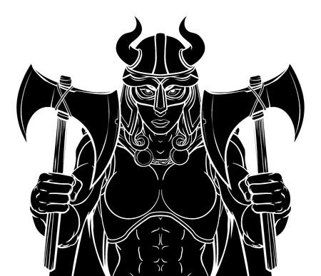 Viking female warrior woman sports team mascot cartoon character Illustration