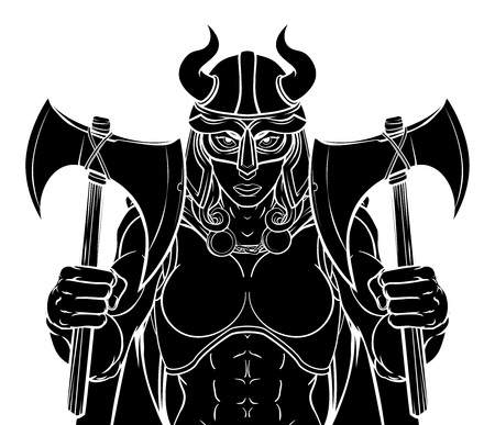 Viking female warrior woman sports team mascot cartoon character Illustration