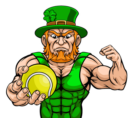 Leprechaun Holding Tennis Ball Sports Mascot cartoon character