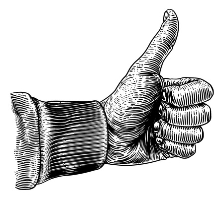 Thumb Up Hand Sign Retro Vintage Woodcut