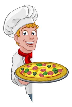Pizza Chef Cartoon 矢量图像