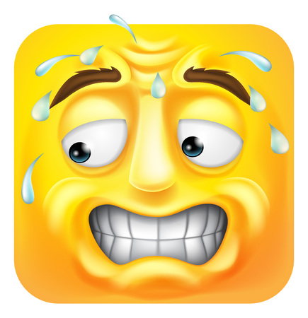 Sweating Worried Emoji Emoticon Icon Cartoon