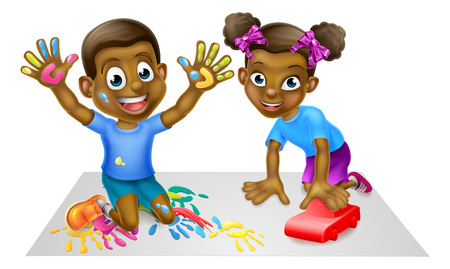Two Children Playing Illustration