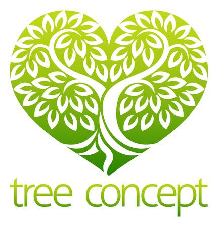 Concept d'icône en forme de coeur d'arbre Vecteurs