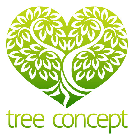 Concetto dell'icona a forma di cuore dell'albero Vettoriali