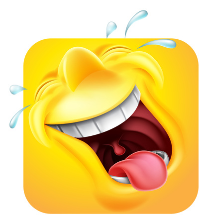 Laughing Emoji Emoticon Icon 3D Cartoon Character Stock fotó - 124350325