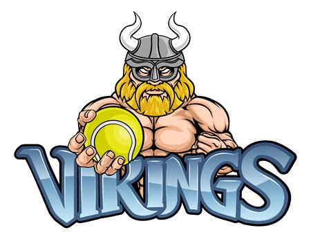 Viking Tennis Sports Mascot Illustration