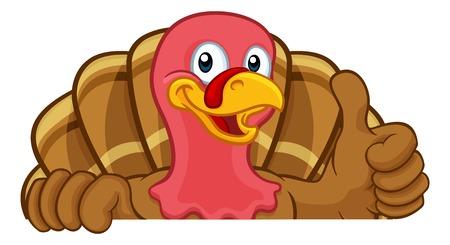 Turkey Thanksgiving or Christmas Cartoon Character Фото со стока - 124559608