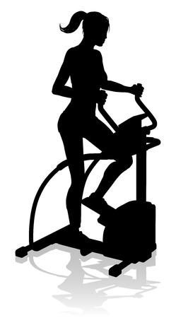 Gym Woman Silhouette Elliptical Cross Fit Machine Vettoriali