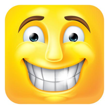 Smiling Emoji Emoticon Icon 3D Cartoon Character