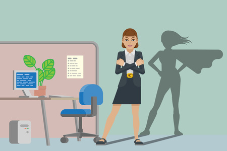 Business Woman Super Hero Shadow Office Mascot