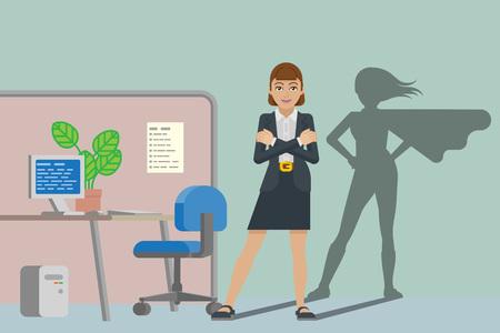 Business Woman Super Hero Shadow Office Mascot