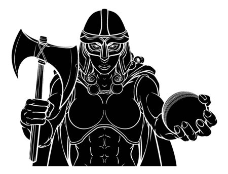 Viking Trojan Celtic Knight Cricket Warrior Woman Illustration