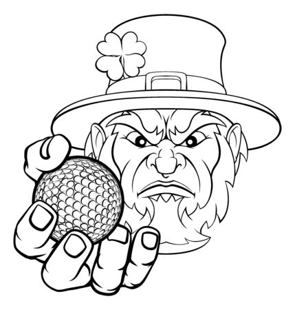 Leprechaun Holding Golf Ball Sports Mascot