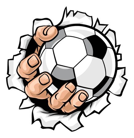Soccer Ball Hand Tearing Background
