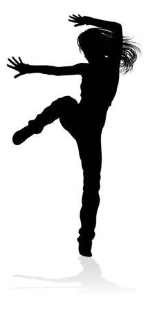Silhouette de danseur de danse de rue